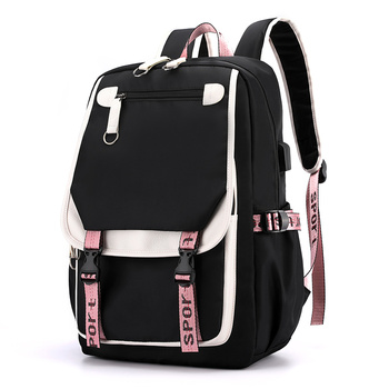 Nylon laptop Backpack Women School Bags for Teenage Girls Preppy Style Large Capacity USB Back Pack Rucksack Youth Bagpack 2019 - discount item  48% OFF Backpacks