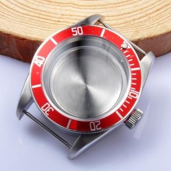 41mm red bezel sapphire Case fit Miyota8205/8215,ETA 2836/2824 Mingzhu 2813