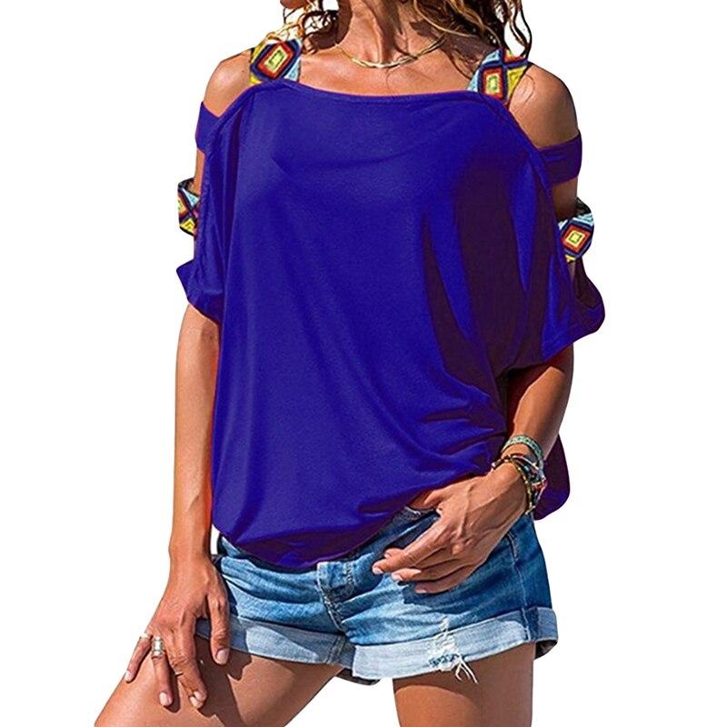 Летние Длинные Топы, тонкая рубашка, Женская Осенняя футболка, женская футболка в стиле пэчворк, женские футболки с открытыми плечами, 2020 T, р...