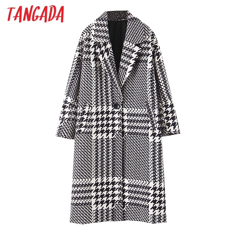 Tangada Women Thick Coats Jacket Plaid Pattern Loose Long Sleeves Pocket 2019 Ladies Elegant Autumn Winter Coat QB07