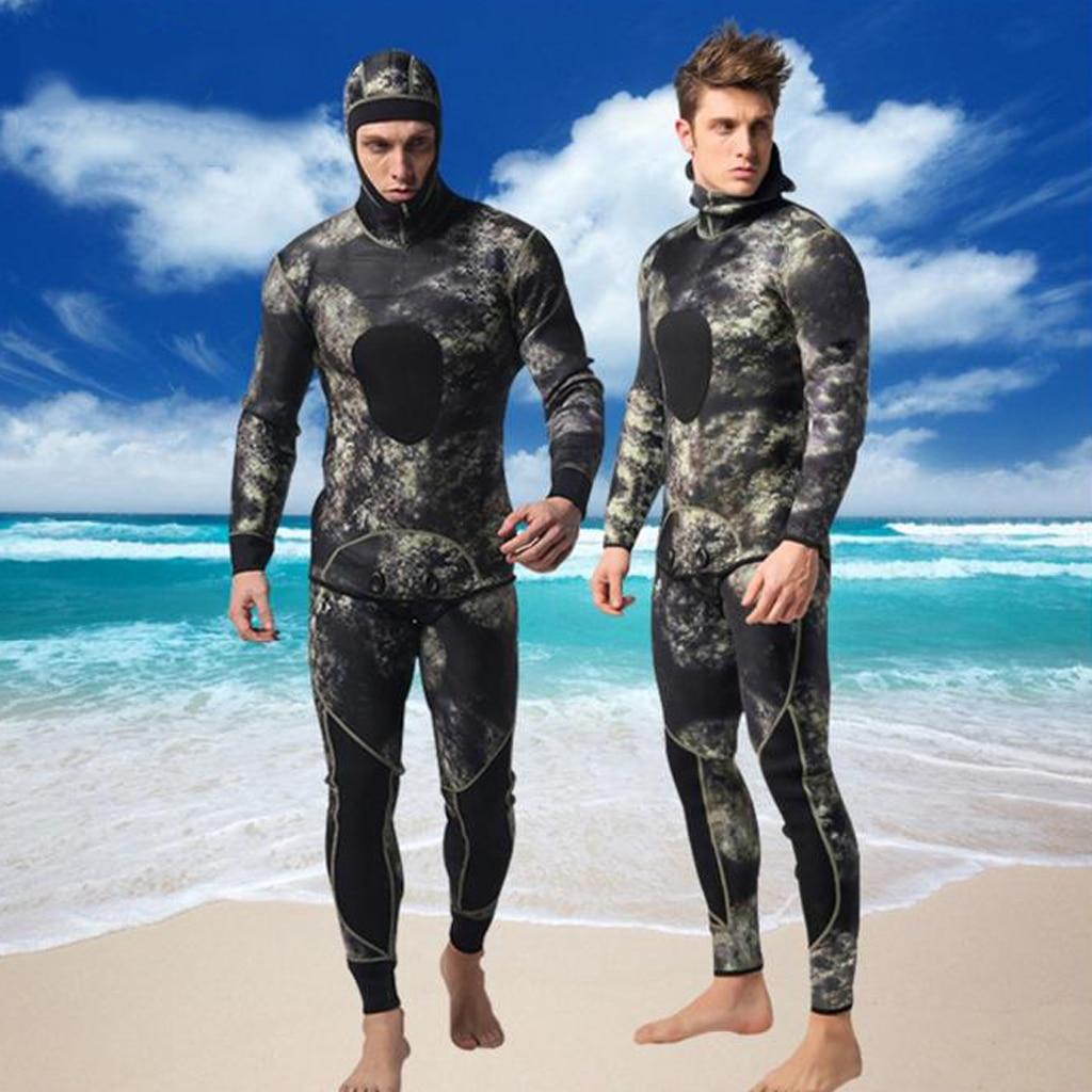 Men 3mm Neoprene Two Pieces Wetsuit Underwater Sports Snorkeling Spearfishing Scuba Diving Surfing Suit