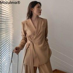 Mozuleva, винтажный комплект из двух предметов, Женский блейзер на шнуровке, блейзер с вырезами и свободные штаны, женские брючные костюмы, женс...