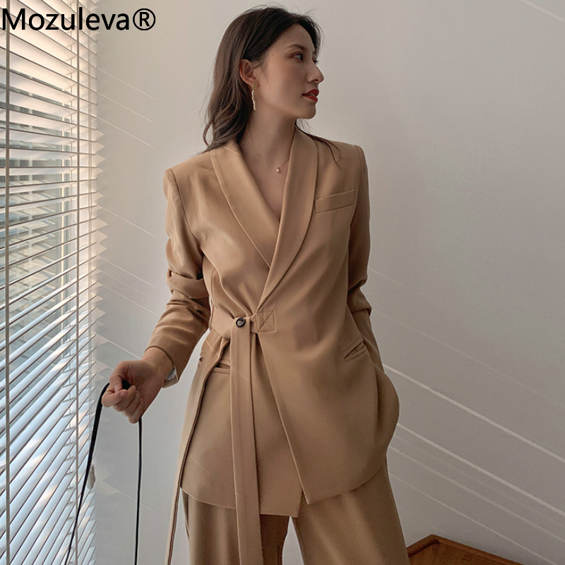 Mozuleva Vintage Two Pieces Set Women Blazer Set Lace Up Notched Blazer & Loose Pant Women Pant Suits Female Trouser Suit 2020