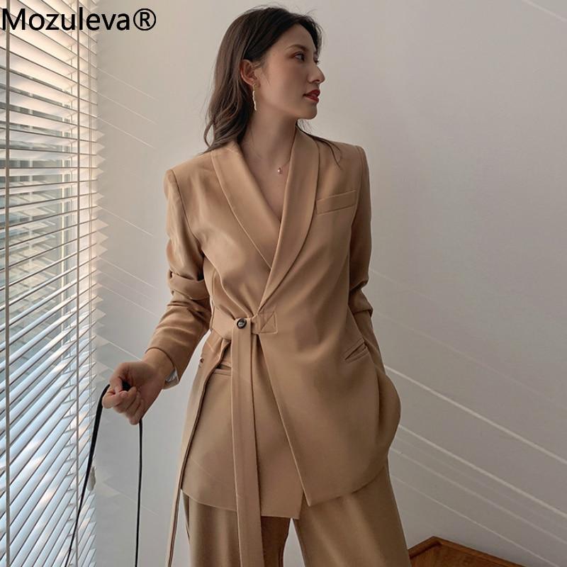 Mozuleva Vintage Two Pieces Set Women Blazer Set Lace Up Notched Blazer & Loose Pant Women Pant Suits Female Trouser Suit 2020