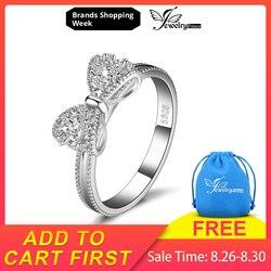 JewelryPalace Yay düğüm 925 Ayar Gümüş Yüzük Kübik Zirkonya Pomise Istiflenebilir Yüzük Kadınlar Kızlar Için moda takı