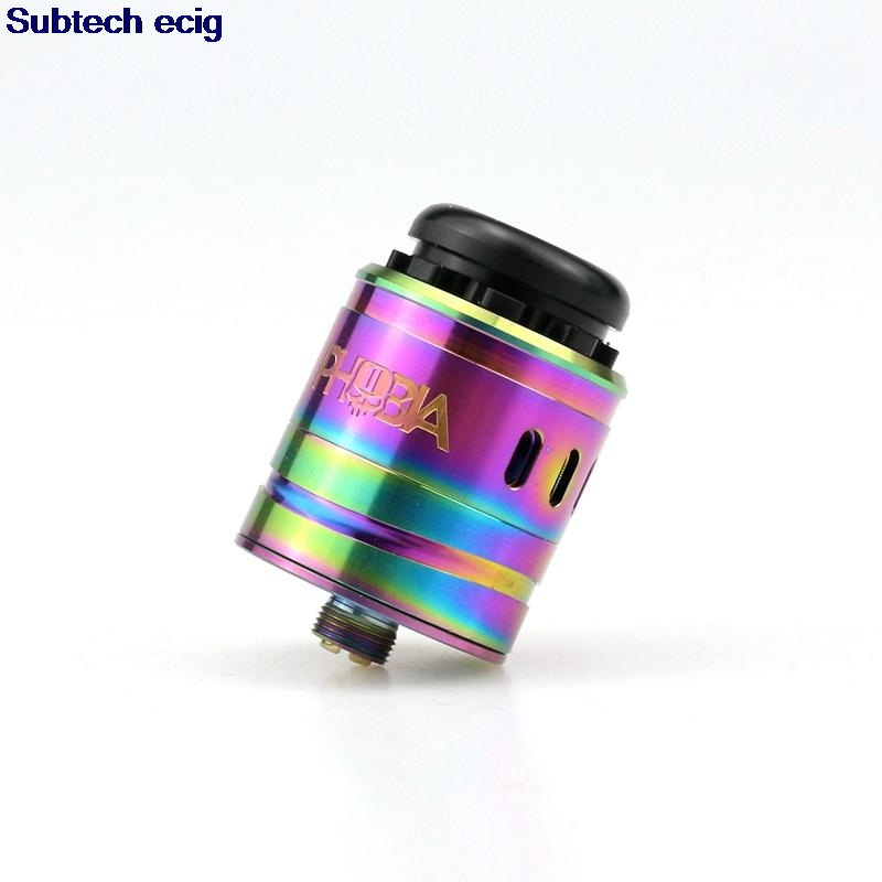 Mais novo 1:1 phobia v2 rda rebuildable gotejamento atomizador 24mm buracos de fluxo de ar com 810 gotejamento ponta e cigarro vape atomizadores tanque