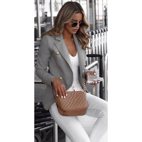 Lugentolo Women's Pioneer Fashion Autumn Hot Selling Growth Sleeve Double-Breasted Collar Short Small Suit