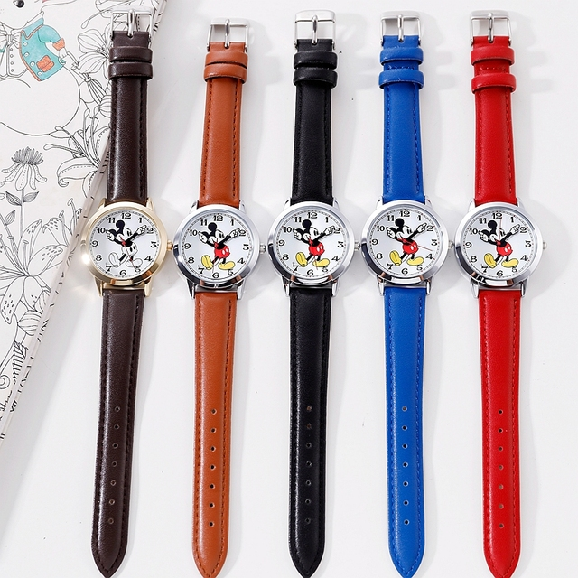 Original Disney Teen Leather Quartz Children Fashion Watches Kids Mickey Mouse Student Watch Boy Girl Best Gift Clock Relogio 5