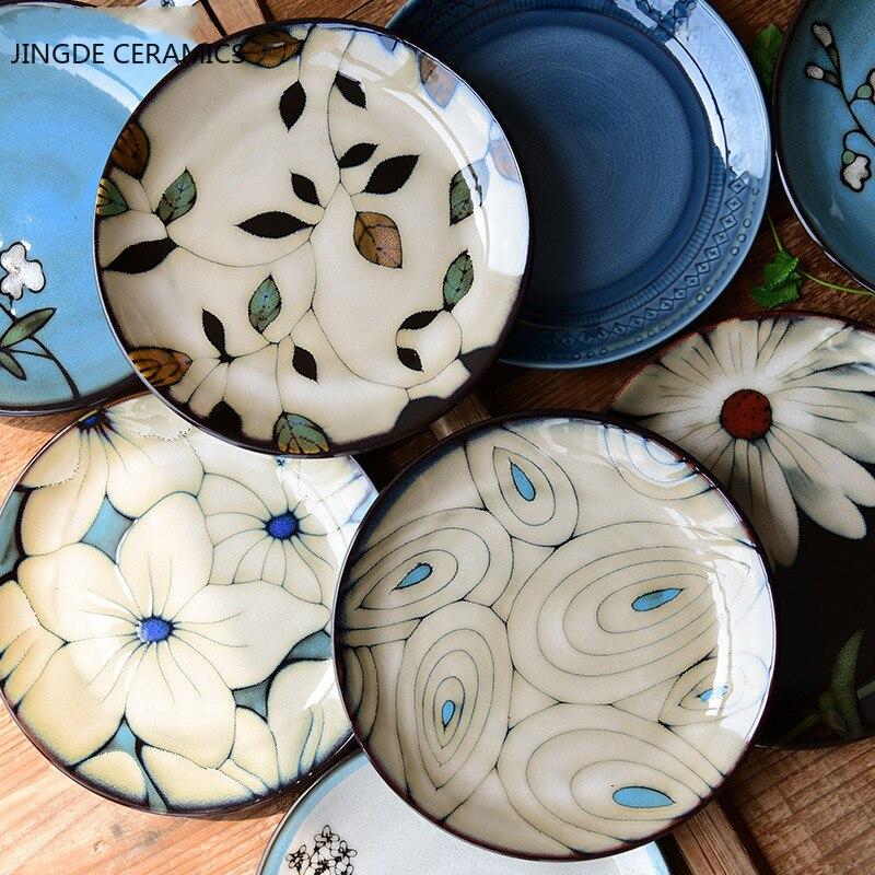 1Pcs Kiln glaze hand-painted flowers ceramic plate tableware square plate steak salad fruit cake sushi storage decorative plate