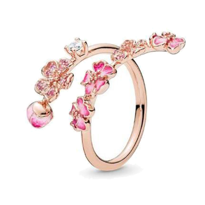 Free Shipping Real 925 Sterling Silver Ring Rose Peach Blossom Flower Branch Ring For Women Wedding Party Gift Fashion Jewelry