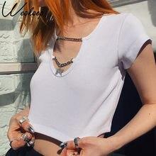 Weekeep-camisetas con colgante de estrella y cadena para mujer, a la moda Tops cortos, camisetas ajustadas de algodón para mujer, Tops sólidos de calle alta