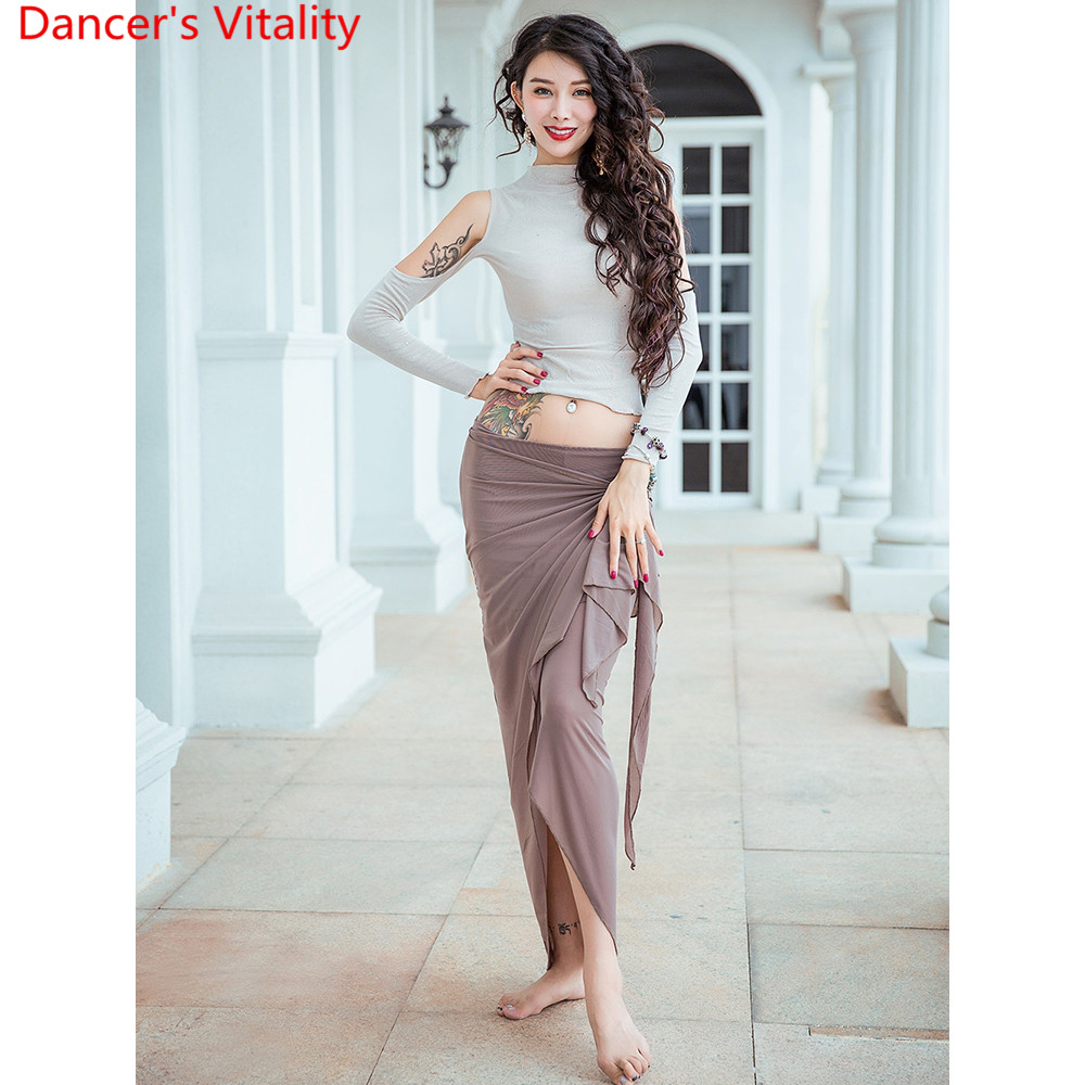 Women Belly Dance Practice Training Clothes Oriental Indian Dancing Sexy Cut Out Top Long Skirt Stage Wear Perforamnce Costume