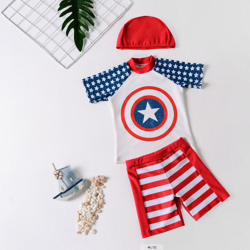 2019 New Style Currently Available Popular KID'S Swimwear Cartoon Five-pointed Star Pattern Men And Women Children Split Type Qu