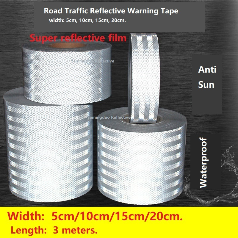 5/10/15/20cm High Visibility Self-adhesive PET Reflective Safety Tape Road Traffic Construction Site Reflective Sign Sticker