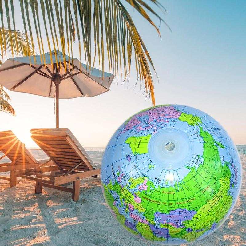 40cm English Version PVC Inflatable Globe World Map Balloon Beach Ball Toy Map Balloon Beach Ball For Students