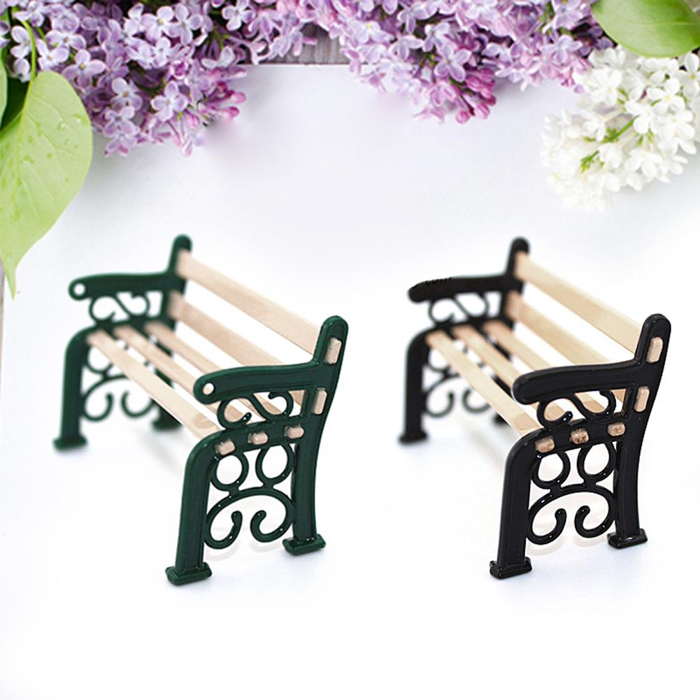 Mini Outdoor Garden Ornament Miniature Park Bench Craft For Dollhouse Toy Decor