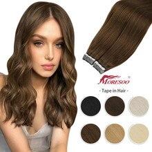 11 fita da cor em extensões de cabelo máquina do cabelo humano remy da pele do plutônio trama 12-24 Polegada em linha reta cabelo brasileiro cola no adesivo real