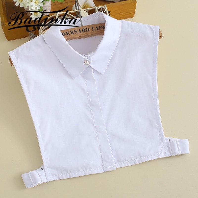 Badinka 2019 New Removable White Cotton Fake Faux Collar Shirt Blouse Women Col Chemise Ladies Detachable Collars Valse Kraagjes