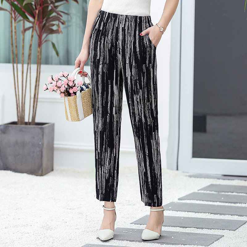 Image 4 - XL 5XL Plus Size Casual Middle aged Women Trousers 2019 Summer Ankle Length Harem Pants Fashion Striped Print High Waist Pants-in Pants & Capris from Women's Clothing