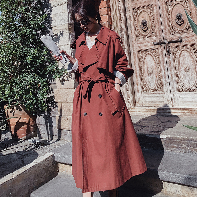 Quality Brand Women Trench Coat Red Khaki Double Breasted Wide-waisted Oversize Coat Office Lady Spring Autumn Outerwear 2019