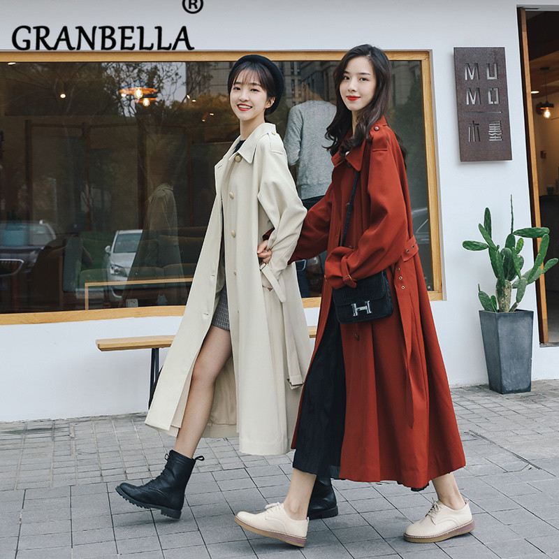 2019 Solid Color Sister Clothing Small Temperament Thin   Trench   Coat Party Outerwear Loose Single Breasted With Belt