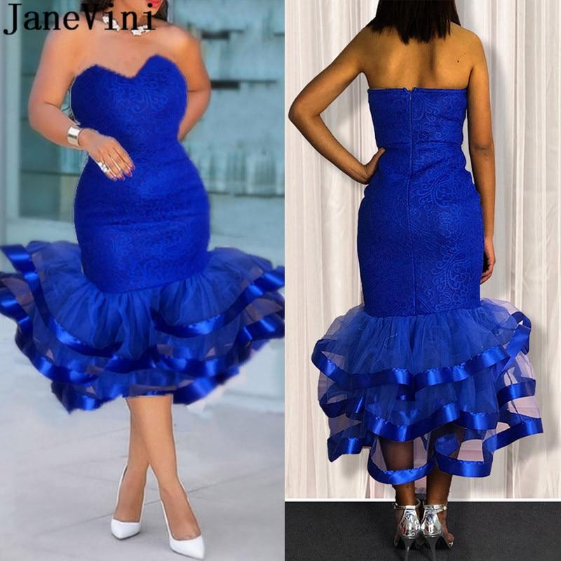 JaneVini Sexy Royal Blue Lace Cocktail Dresses Plus Size Woman Tea Length Sweetheart Graduation Ruffles Formal Dress cocteleria