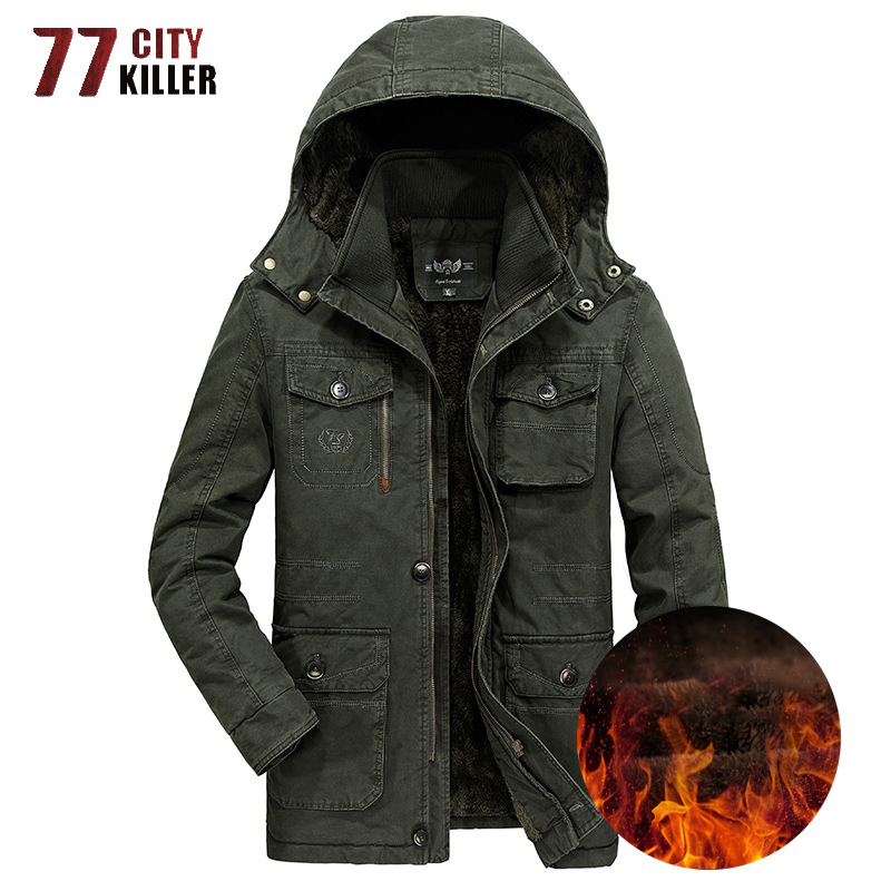 Plus Size 7XL 8XL Military Winter Jacket Men Outwear Thick Warm Windbreaker Cotton Mens Jackets Wool Liner Hooded Parkas Hombre