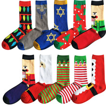 Christmas Tree Santa Claus Red Fancies Cotton Men Socks Character Jacquard Xmas Festive Striped Crew New Year Gift