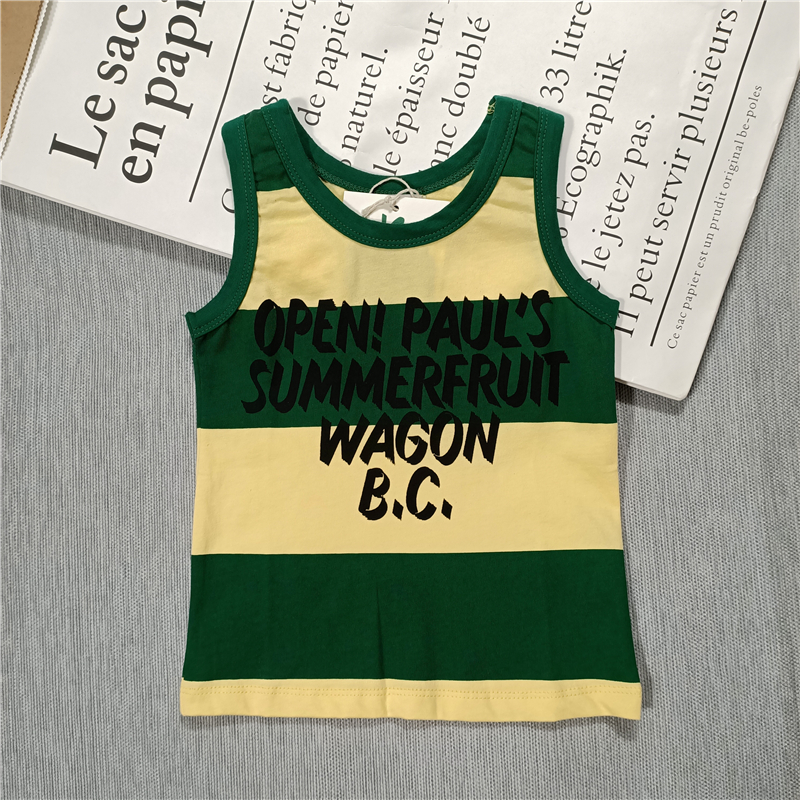 Summer new kids boys and girls Cactus,whale,monogrammed stripes cotton vest sleeveless tee 3