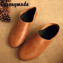 CareaymadePure Handmade Genuine Leather women flats shoes,retro shallow mouth the ancient Zen comfortable leather shoes,2 colors