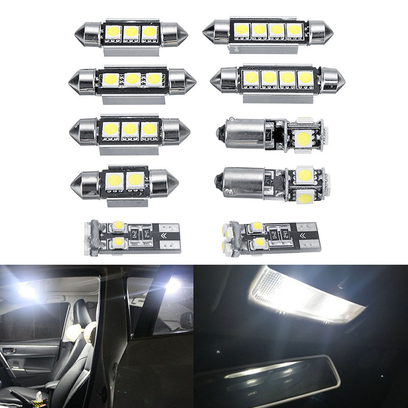 10pcs Car Light White LED Interior Bulb For MK4 Golf Jetta1999-2005 DC 12V Parts image