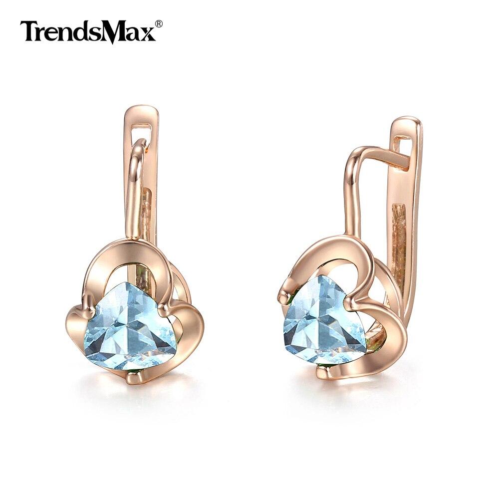 Neue 585 Rose Gold Ohrringe für Frauen Damen Mädchen Blume Grün Blau Natürliche Zirkon Baumeln Ohrringe Partei Schmuck GEM33