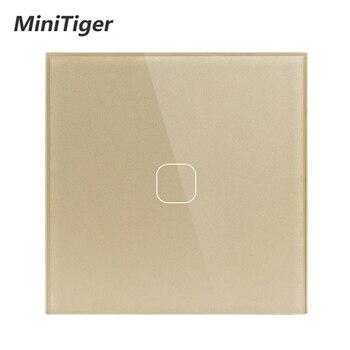 MiniTiger EU/UK Standaard, 1 Gang 1 Manier Muur Touch Switch, White Crystal Glass Switch Panel, 220 250 V, Alleen Touch Functie-in Schakelaars van Licht & verlichting op