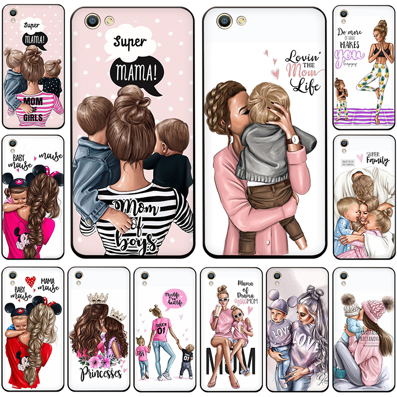 Black Brown Hair Baby Mom Girl Queen Silicone <font><b>phone</b></font> <font><b>case</b></font> for <font><b>OPPO</b></font> R17 R15 F11 <font><b>F9</b></font> Pro R11s A77 R11 R9s <font><b>F9</b></font> F7 A73 A83 A59 A39 A5 image