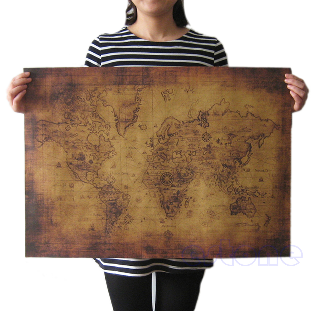 Large Vintage Style Retro Paper Poster Globe Old World Map Gifts 71x51cm Q6PA