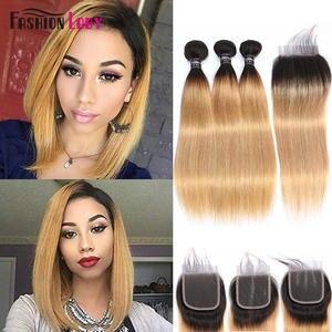 Brazilian Hair Weave Closure Human-Hair-Bundles Blonde Straight Ombre Fashion Lady Pre-Colored