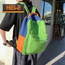 New Korean Style Multi-color Canvas Shoulder Women Backpack All-match Simple Men Travel Bag for Student Schoolbag Laptop Handbag