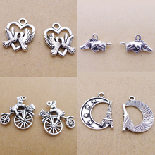 BANMAR 10pcs heart brids moon star Iron tower Rabbit bike lying pig Alloy Charms silver plated Pendant For Jewelry Making L32