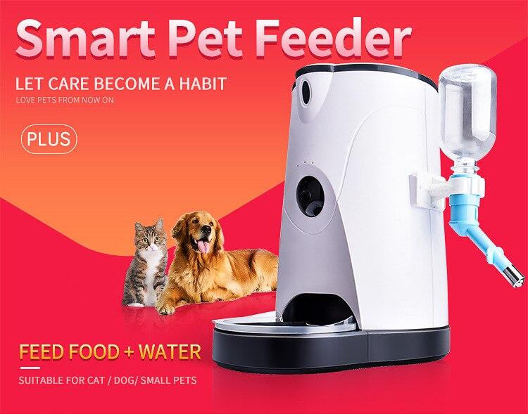 Distributeur d'eau de nourriture intelligente avec la caméra HD