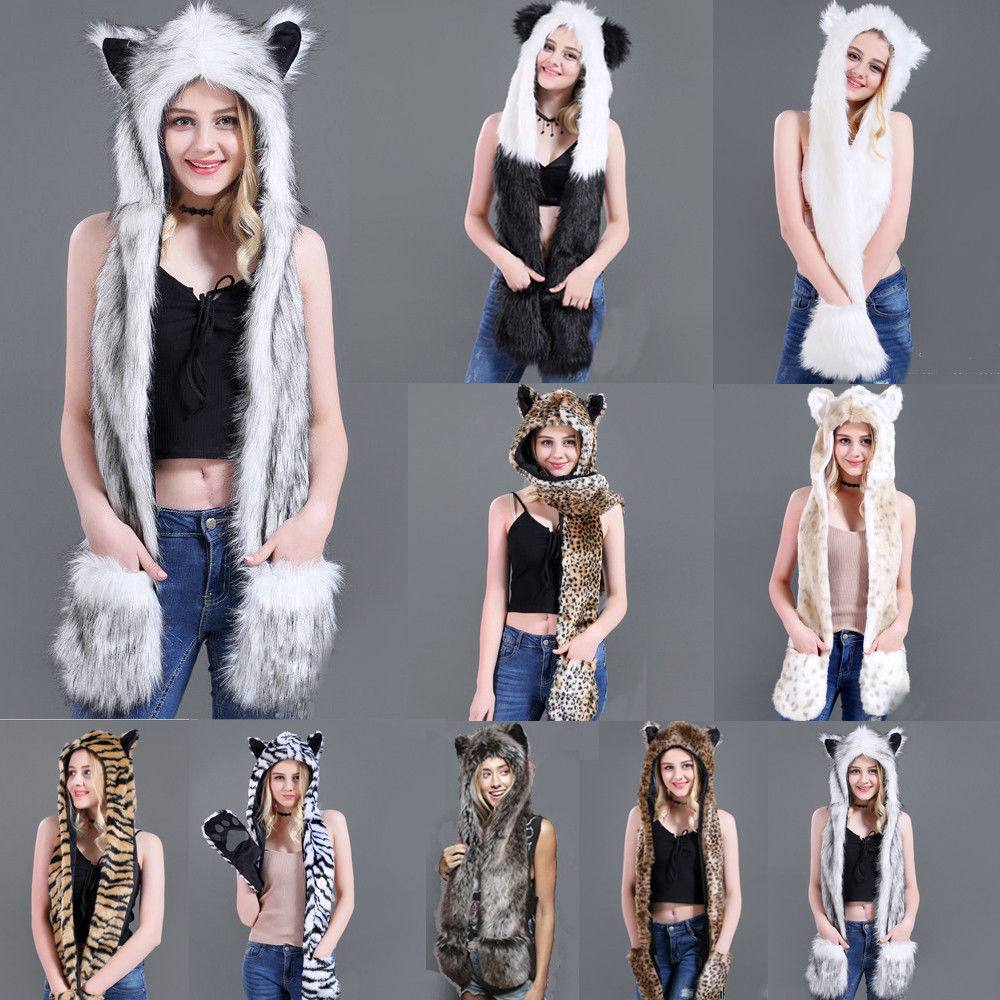 Fuzzy Fluffy Women Winter Animal Wolf Cat Ear Hat Beanies With Mittens Gloves Plush Beanie