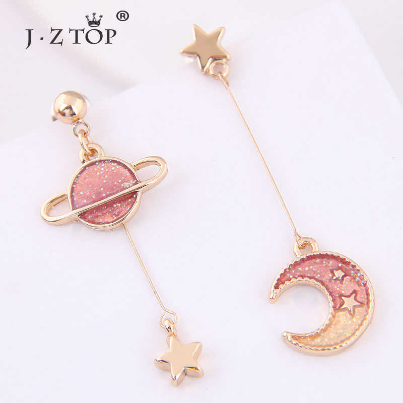 Wanita Asimetris Bulan Bintang Anting-Anting Drop Pink Planet Panjang Liontin Anting-Anting Fashion Perhiasan Aksesoris Wanita