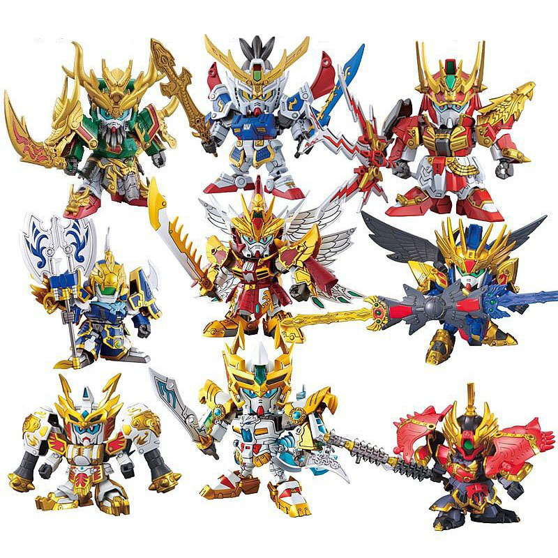 Three Kingdoms Gundam Anime Action Figures SD / BB Sousou Teni Ryofu Koumei Kanu Shibai 8cm Model Kits Plastic Puzzle Robot Toys