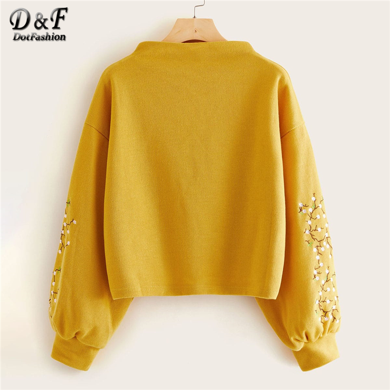 Dotfashion Pink Lantern Sleeve Floral Embroidered Sweatshirt Women Casual 2019 Autumn Bishop Sleeve Boat Neck Spring Pullover