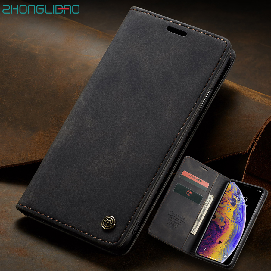 Magnetic <font><b>Case</b></font> for <font><b>IPhone</b></font> 11 Pro Xs Max Xr 7 8 6 6s Plus <font><b>5</b></font> 5s SE Luxury Matte Leather Flip Wallet Holder Stand Phone Cover Coque image