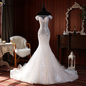 Image 1 - Elegante Spitze Appliques Meerjungfrau Hochzeit Kleider 2020 vestido de noiva Ärmellose Bodenlangen Weg Von der Schulter Brautkleider
