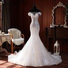 Vestidos de novia elegantes de sirena, apliques de encaje, sin mangas, longitud hasta el suelo, hombros descubiertos, 2020
