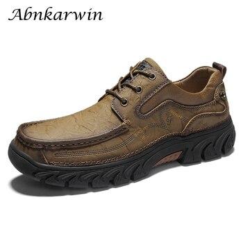 First Layer Mens Shoes Genuine Leather Rubble Soles Man's Shoe Outdoor Casual Retro Style Autumn Men Shose Plus Size 47 48 - discount item  45% OFF Men's Shoes