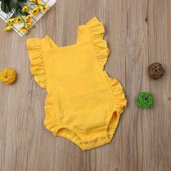2020 Ropa De niños recién nacidos bebé niña Ropa Bebe Ruffle Cross Ropa De Bebe Vintage una foto Lino mono 6-24M