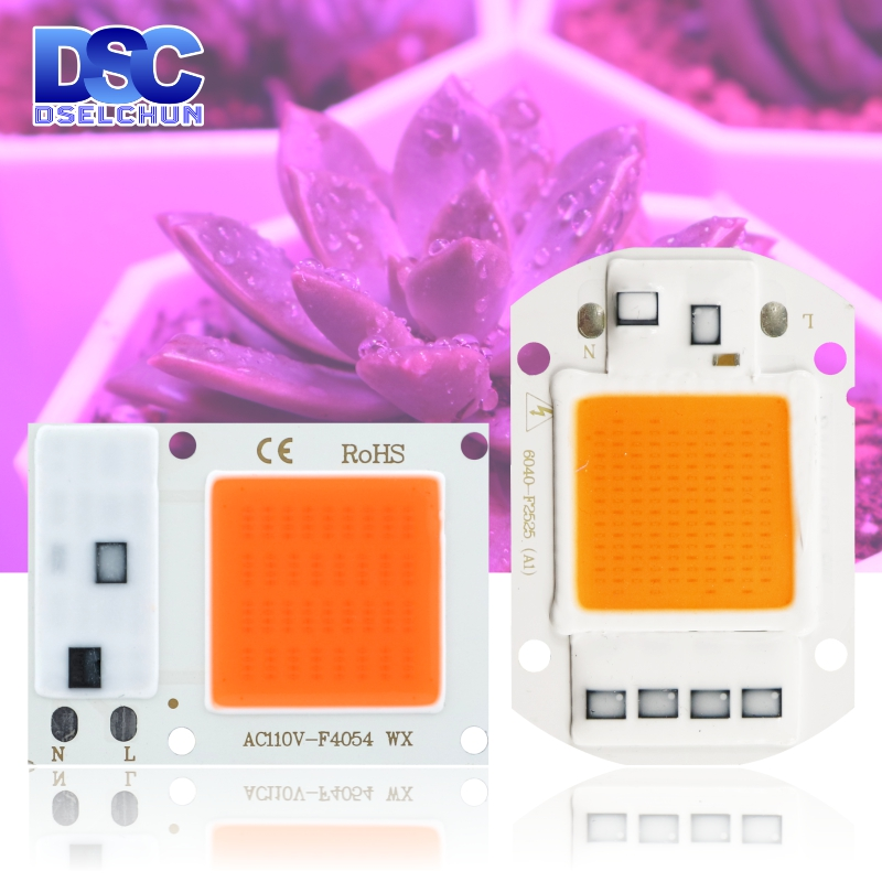 Led Grow Chip 10W 20W 30W 50W Full Spectrum 110V 220V Cob Grow Light Chip 380nm-840nm For Indoor Plant Seedling Grow And Flower