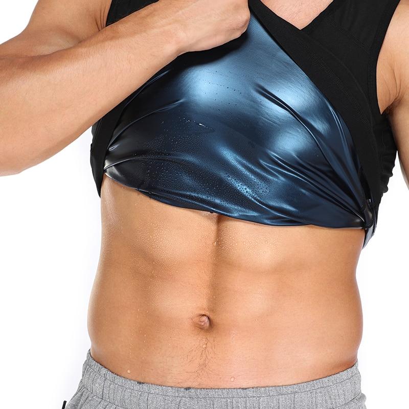 Мужская Тренировочная футболка для живота, компрессионная рубашка для похудения, корсет для сжигания жира, фитнеса, пота, профессиональный ...